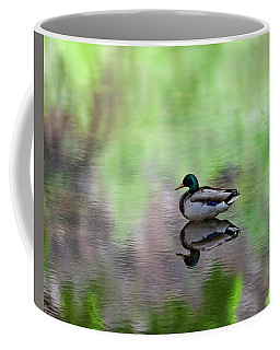 Coffee Mug featuring the photograph Mallard In Reflecting Pool H58 by Mark Myhaver
