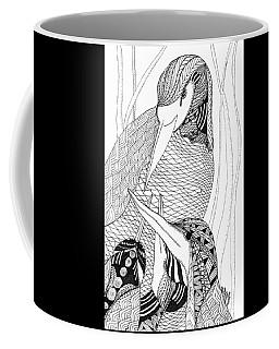 Coffee Mug featuring the drawing Mama Heron by Barbara McConoughey