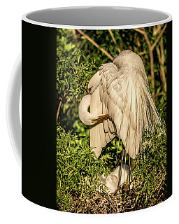 Mama White Egret Coffee Mug by Jane Luxton