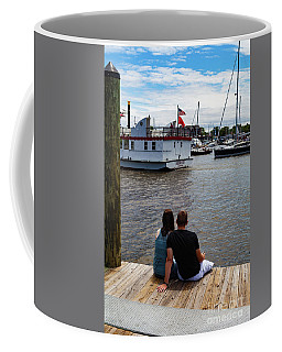 Man And Woman Sitting On Dock Coffee Mug
