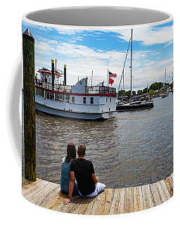 Man And Woman Sitting On The Dock Coffee Mug