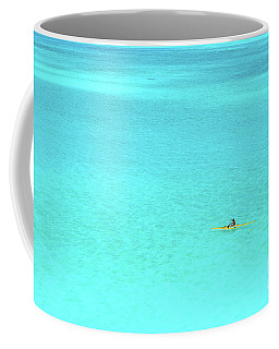 Man In An Outrigger Canoe In A Blue Lagoon Coffee Mug