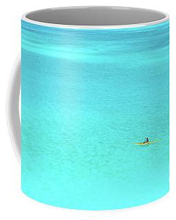 Man In An Outrigger Canoe In A Blue Lagoon Coffee Mug