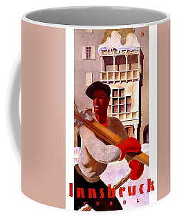 Man In Winter Clothes Carrying Skis - Innsbruck Austria - Vintage Travel Poster Coffee Mug