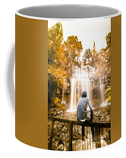 Coffee Mug featuring the photograph Man Looking At Waterfall by Jorgo Photography - Wall Art Gallery