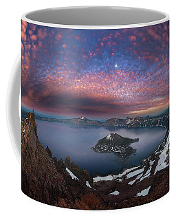 Coffee Mug featuring the photograph Man On Hilltop Viewing Crater Lake With Full Moon by William Lee