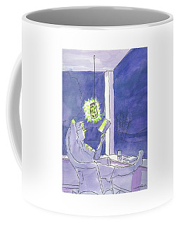 Man Reads By The Light Of Fireflies. Coffee Mug