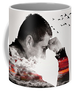 Man Thinking Double Exposure With Birds Coffee Mug
