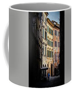 Man Walking Alone In Small Street In Siena, Tuscany, Italy Coffee Mug