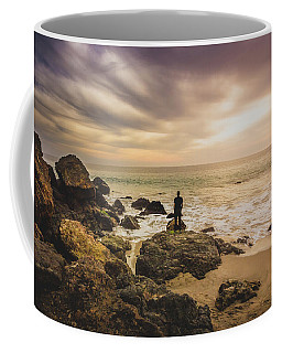 Man Watching Sunset In Malibu Coffee Mug