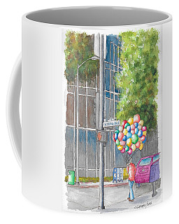 Man With Balloons In Wilshire Blvd., Beverly Hills, California Coffee Mug