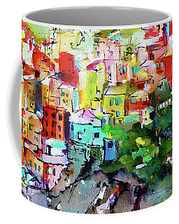 Manarola Cinque Terre Italy Colorful Watercolor Coffee Mug