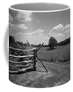 Coffee Mug featuring the photograph Manassas Battlefield Bw by Frank Romeo
