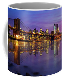 Coffee Mug featuring the photograph Manhattan Reflection by Mircea Costina Photography