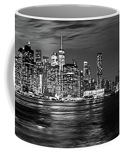 Manhattan Skyline At Dusk From Broklyn Bridge Park In Black And  Coffee Mug