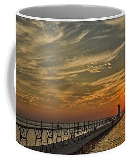 Coffee Mug featuring the photograph Manistee North Pierhead Lighthouse by Sue Smith