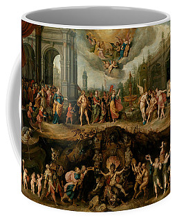 Coffee Mug featuring the painting Mankind's Eternal Dilemma, The Choice Between Virtue And Vice by Frans Francken the Younger