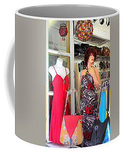 Mannequin With Stripped Flower Dress Coffee Mug