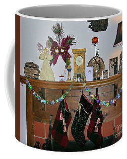 Coffee Mug featuring the photograph Mantel With Mask by Rosanne Licciardi
