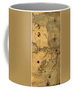 Map Of Outer Banks Vintage Coastal Handrawn Schematic On Parchment Circa 1585 Coffee Mug