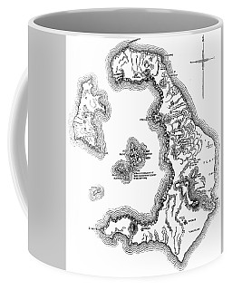 Map Of The Island And Bay Of Santorini In The Greek Archipelago Coffee Mug