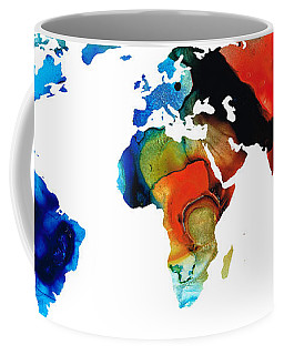 Map Of The World 3 -colorful Abstract Art Coffee Mug