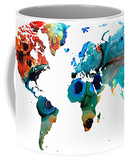 Map Of The World 6 -colorful Abstract Art Coffee Mug