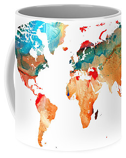 Map Of The World 7 -colorful Abstract Art Coffee Mug