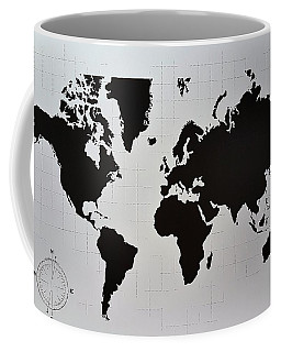 Coffee Mug featuring the photograph Map Of The World B W by Rob Hans