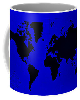 Coffee Mug featuring the photograph Map Of The World Blue by Rob Hans