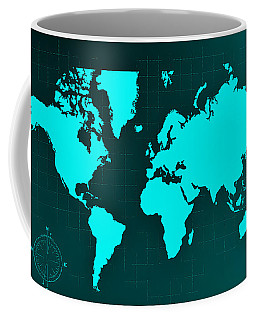 Coffee Mug featuring the photograph Map Of The World Negative  Aquamarine by Rob Hans