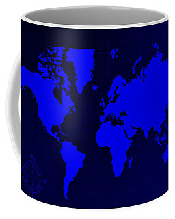 Coffee Mug featuring the photograph Map Of The World Negative Blue by Rob Hans