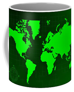 Coffee Mug featuring the photograph Map Of The World Negative Green by Rob Hans