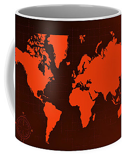 Coffee Mug featuring the photograph Map Of The World Negative Orange by Rob Hans