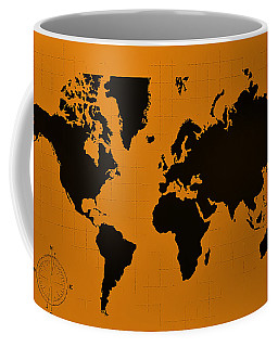 Coffee Mug featuring the photograph Map Of The World Orange by Rob Hans