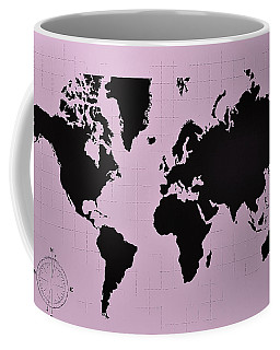 Coffee Mug featuring the photograph Map Of The World Pink by Rob Hans