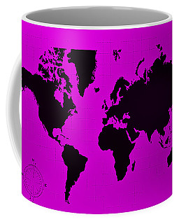 Coffee Mug featuring the photograph Map Of The World Purple by Rob Hans