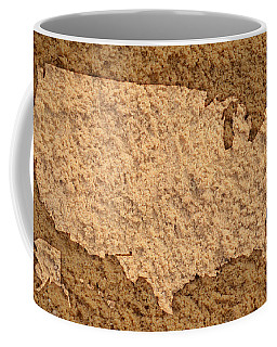Map Of Usa On Sandy Beach Coffee Mug