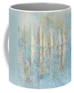 Coffee Mug featuring the painting Marbled Yachts by Valerie Anne Kelly