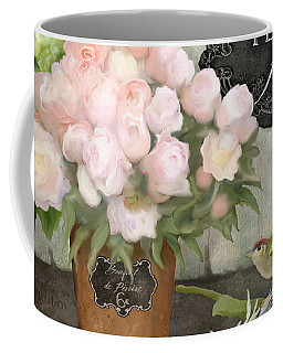 Coffee Mug featuring the painting Marche Aux Fleurs 2 - Peonies N Hydrangeas W Bird by Audrey Jeanne Roberts