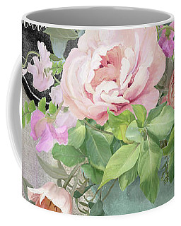 Coffee Mug featuring the painting Marche Aux Fleurs 3 Peony Tulips Sweet Peas Lavender And Bird by Audrey Jeanne Roberts
