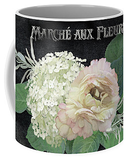 Coffee Mug featuring the painting Marche Aux Fleurs 4 Vintage Style Typography Art by Audrey Jeanne Roberts