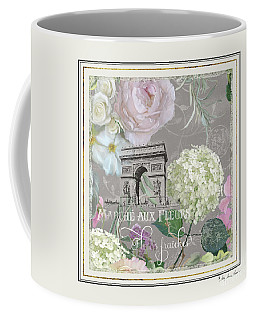 Coffee Mug featuring the painting Marche Aux Fleurs Vintage Paris Arc De Triomphe by Audrey Jeanne Roberts