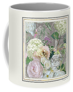 Coffee Mug featuring the painting Marche Aux Fleurs Vintage Paris Eiffel Tower by Audrey Jeanne Roberts