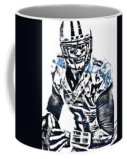 Coffee Mug featuring the mixed media Marcus Mariota Tennessee Titans Pixel Art 3 by Joe Hamilton