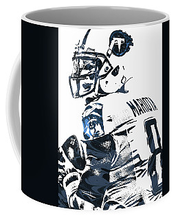 Coffee Mug featuring the mixed media Marcus Mariota Tennessee Titans Pixel Art by Joe Hamilton