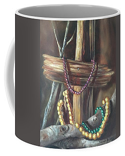 Mardi Gras Beads And Hurricane Katrina Coffee Mug by Randy Burns