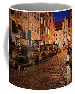 Mariacka Street At Night In Old Town Of Gdansk Coffee Mug