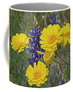 Marigolds And Lupines Coffee Mug by Sue Cullumber