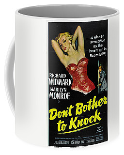 Coffee Mug featuring the photograph Marilyn Monroe And Richard Widmark In Don't Bother To Knock by R Muirhead Art
